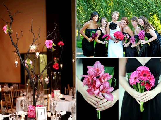 Gorgeous high centerpieces at wedding reception made of bright flowers hung on manzanilla branches