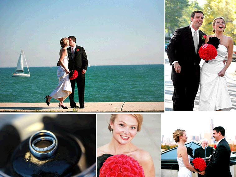 Bride holds hot pink coral bridal bouquet of roses, kisses groom outside near Lake Michigan
