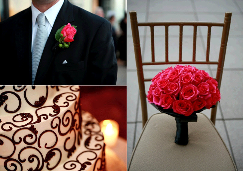 Wedding-details-hot-pink-red-rose-bridal-bouquet-black-tux-white-wedding-cake-with-chocolate-brown-design.full
