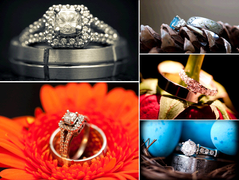 Beautiful wedding detail photos of engagement rings and wedding bands