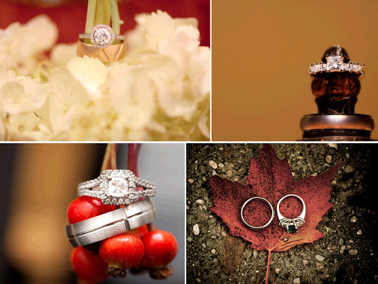 Engagement and wedding rings placed atop red berries, white flowers, and fall leaves... Stunning!