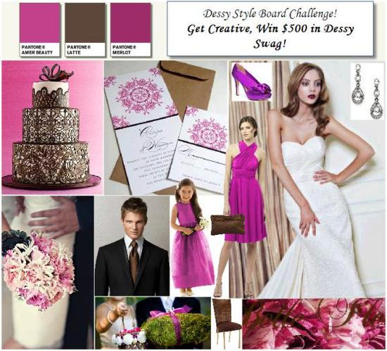 This chocolate brown and fuschia wedding board features accessories and dresses from Dessy.