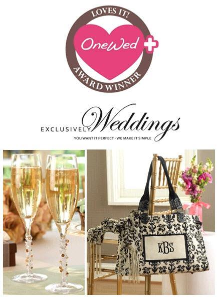 These toasting flutes and tote bag are from exclusively weddings.