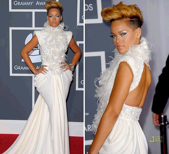 Rhianna wore a high neck white dress to the Grammys, which could have doubled as a wedding dress!