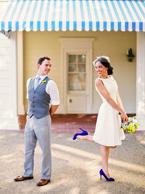 Blue Shoes on an Adorable Bride