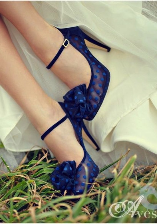 Sheer Blue Polka Dots