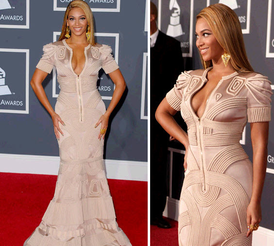 Beyonce in an architecture-inspired champagne gown at the 2010 Grammys