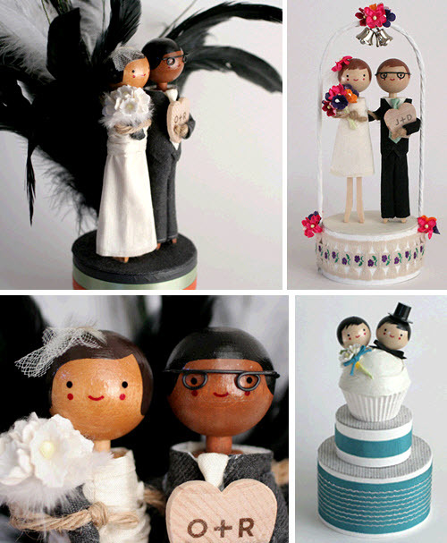 Cute clothespin bride and groom cake toppers