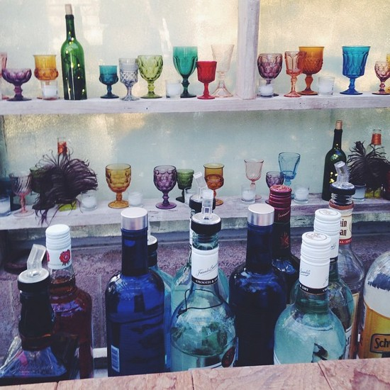 Vintage colored glassware