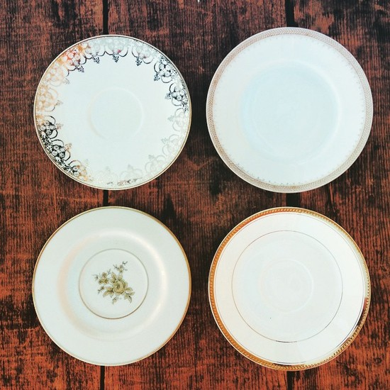 Vintage Gold and White Dessert Plates
