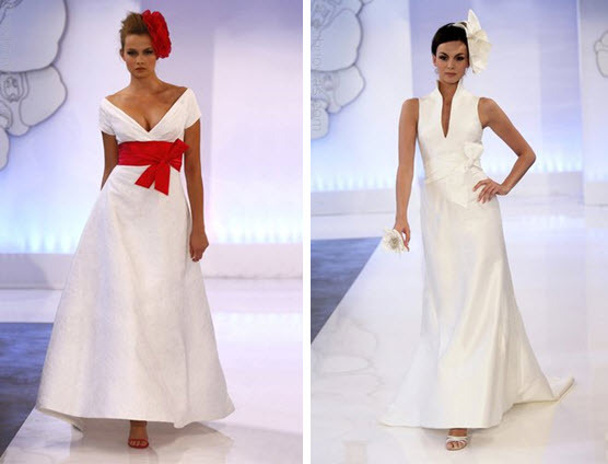 Classic white Cymbeline wedding dress with deep red sash and floral ...