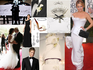 photo of Dessy Style Board: Black Tie Affair with a Red Carpet Twist!