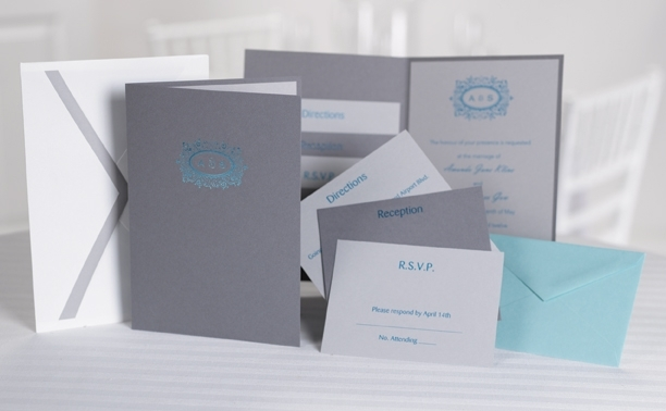 Pewter grey, turquoise and white custom pocket wedding invitations