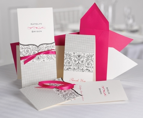 Chic white, silver and hot pink pocket style wedding invitations