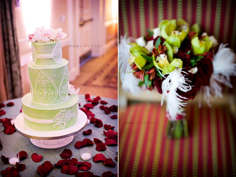 Modern-chic-light-green-three-tier-round-wedding-cake-with-white-lace-details-surrounded-by-dark-red-roses.full