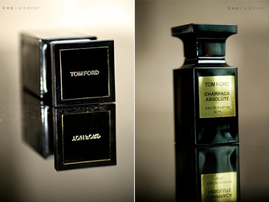 Artistic wedding detail shot- Tom Ford eau de parfum is bride's signature scent