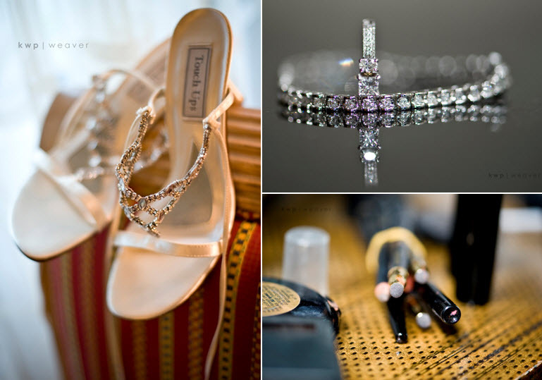 Wedding-detail-shots-touch-ups-open-toe-rhinestone-encrusted-bridal-heels-diamond-jewelry-makeup-brushes.full