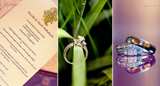 Chic ivory wedding program with olive green and purple calligraphy; artistic detail shots of diamond