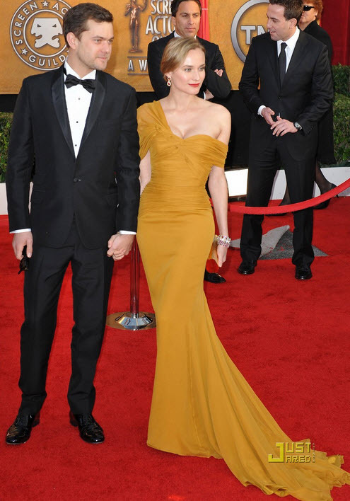 Diane Kruger donned a assymetrical mustard yellow gown by Jason Wu