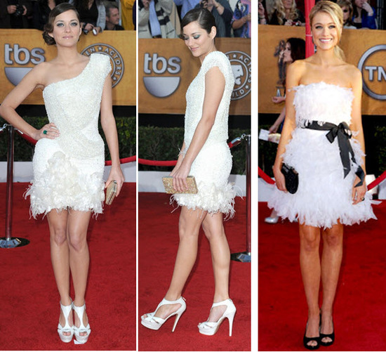 Short and flirty white cocktail frocks at the 2010 SAG awards- perfect for your wedding reception!