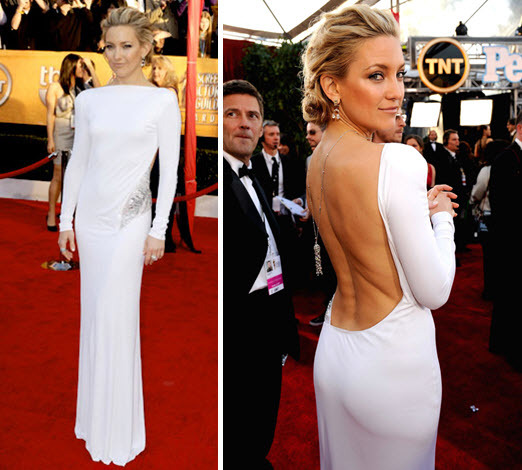 Kate Hudson wore a slinky white dress with plunging open back to the 2010 SAG awards