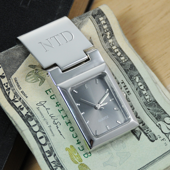 Graphite Face Money Clip Watch Engraved Mongrammed valentine's day gift