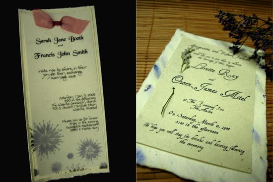 These beautiful wedding invitations are made from paper that  can be planted when the wedding invita