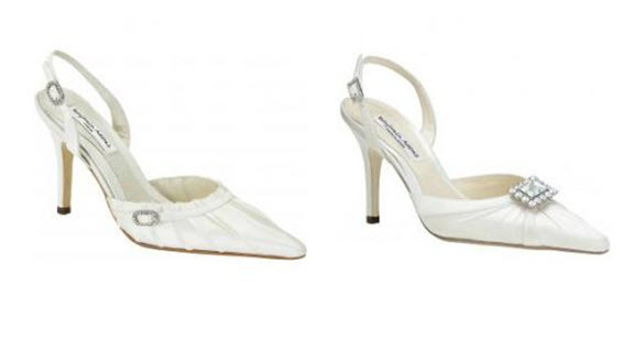 Elongated pointy closed toe bridal heels that are sophisticated and elegant
