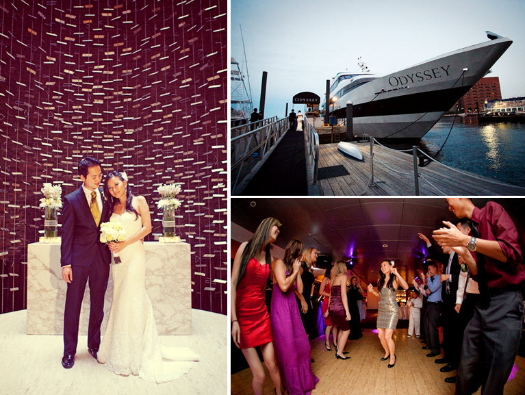 The odyssey cruise ship sailed through boston harbor while for Wedding dresses for cruise ship