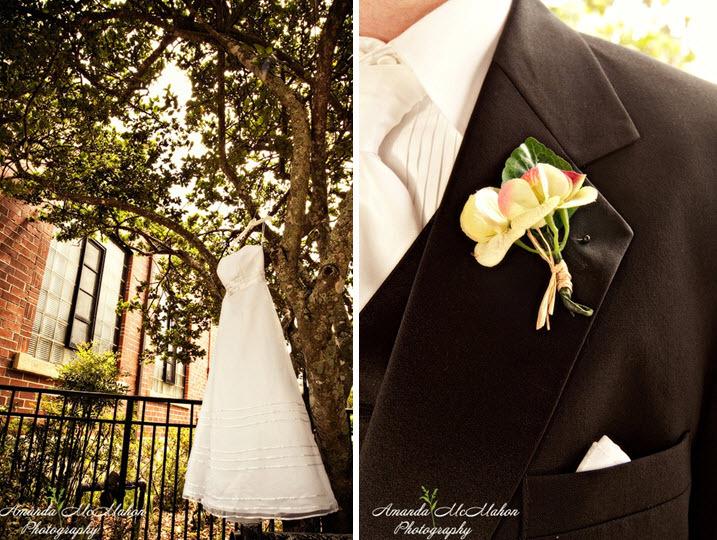 White-strapless-wedding-dress-hangs-on-tree-black-tuxedo.full
