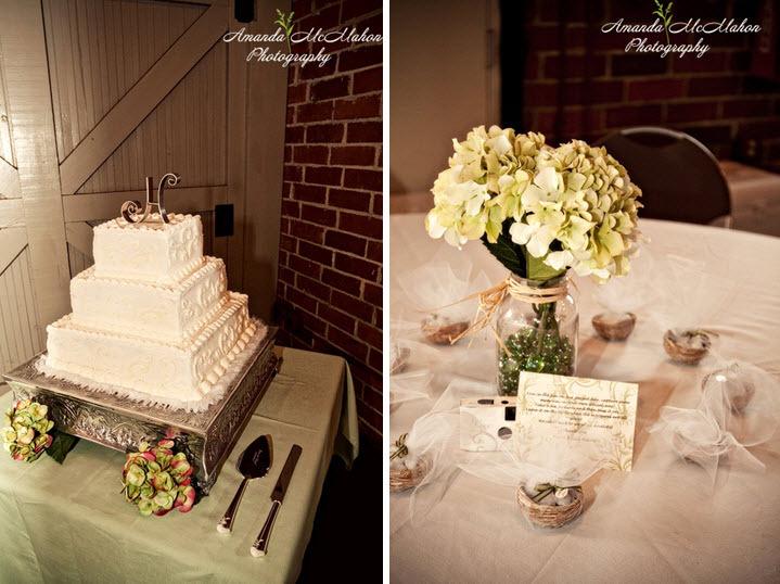 White-three-tier-wedding-cake-square-green-pink-hydrangeas.full