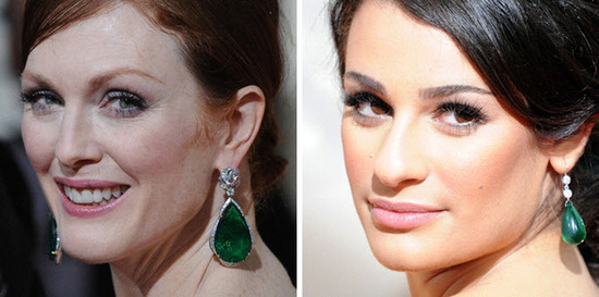 Beautiful emerald and diamond statement earrings at the Golden Globes