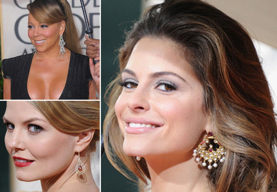 Mariah Carey and Maria Menounos wore dazzling chandelier earrings at the Golden Globes