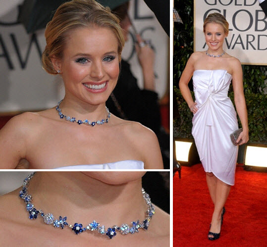 Kristin Bell at the 2010 Golden Globes, wearing a sparkly blue necklace