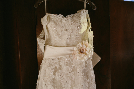 Lace Dress With Wedding Flower Sash