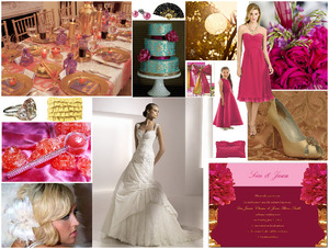 photo of Hot Pink and Gold Wedding Inspiration: Dessy Style Board of the Week!