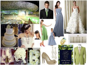 photo of Light Blue, Green and Ivory Wedding Inspiration: Cloudy and Apple Slice Dessy Style Board!