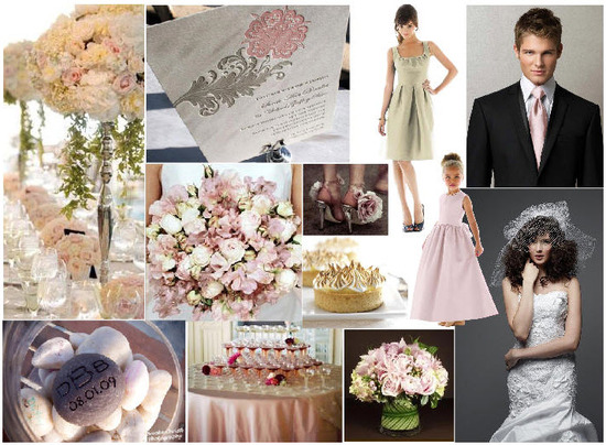 Gorgeous blush and taupe wedding inspiration board, perfect for a garden wedding