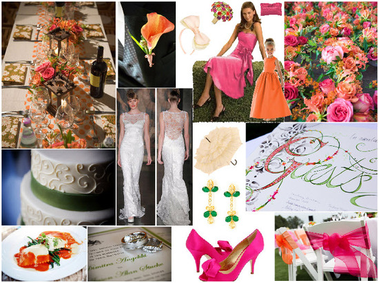 Vibrant hot pink, tangerine and grassy green wedding!