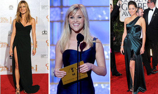 Golden Globes 2010 Red Carpet Asymmetrical Gowns Jennifer Aniston, Reese Whitherspoon, Marion Cotill
