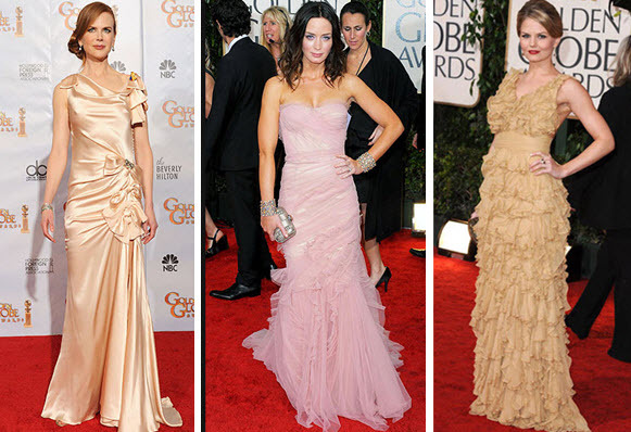 Golden Globes 2010 Red Carpet Romantic Gowns Nicole Kidman, Emily Blunt, Jennifer Morrison