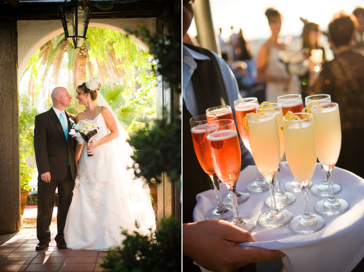Delicious-orange-and-pink-signature-drinks-served-in-champagne-flutes-bride-with-white-flower-in-hair-groom-wears-turquoise-tie.full