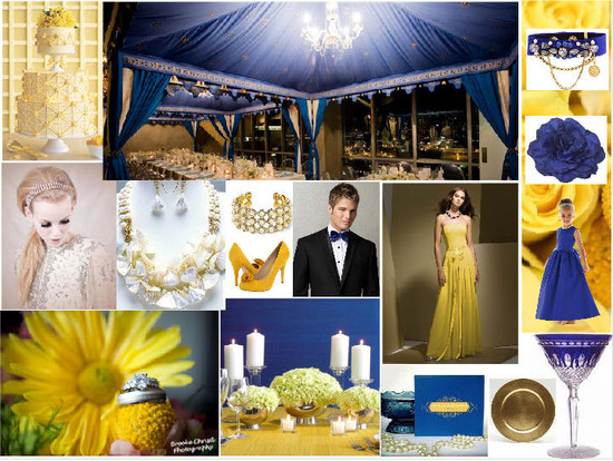 Cobalt Blue Yellow Gold Wedding Inspiration Board Dessy