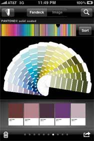 This color palette is shown on an iphone using the pantone iphone app.