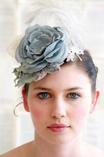 Make a statement in this blue-grey shabby chic bridal flower fascinator