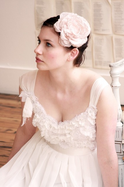 Shabby chic off-white large fabric bridal flower