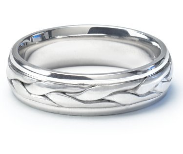 Stunning hand-braided platinum men's wedding ring