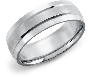 photo of BlueNile- Double Inlay Brushed Wedding Band for your groom