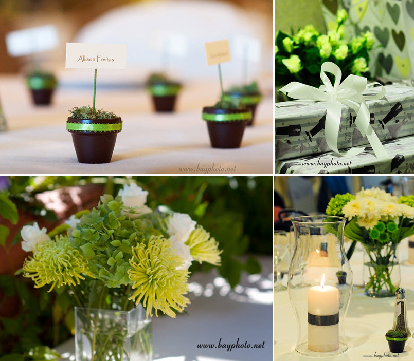 Green, black and ivory wedding details- mini flower pots for place ...