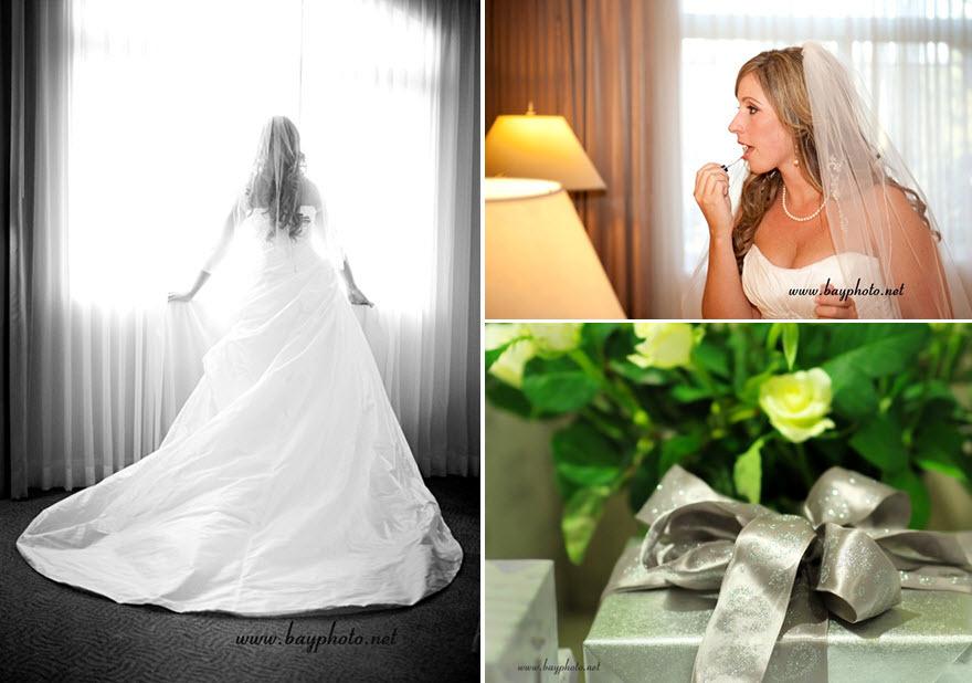Bride-in-stunning-ivory-strapless-sweetheart-wedding-dress-veil-white-green-flowers-champagne-silver-ribbon.full